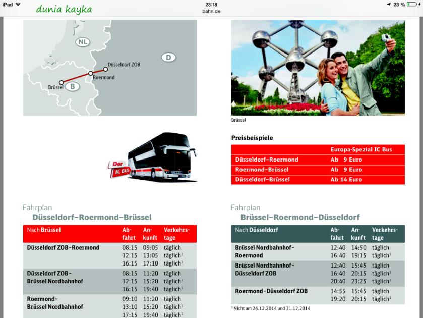 contoh harga dan timetable bus Düsseldorf-Roermond-Düsseldorf